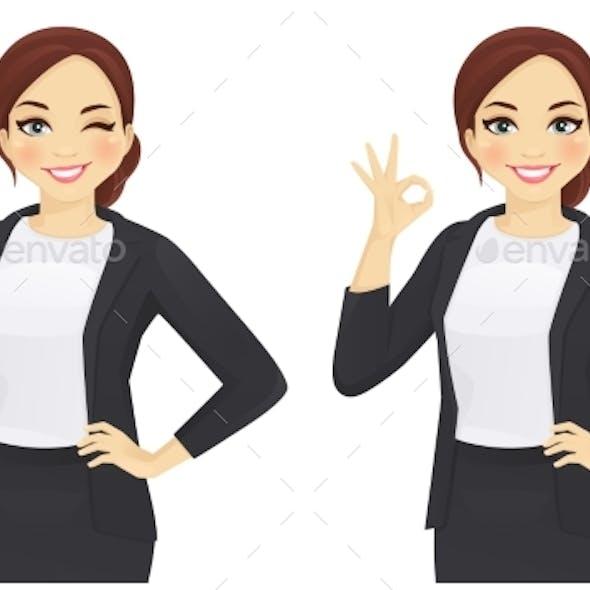 Business Woman Gesturing Ok
