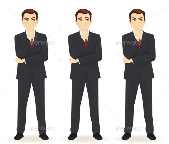 Set of Thoughtful Business Man - Miscellaneous Vectors