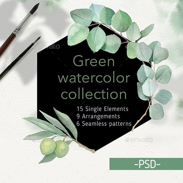 Green Leaves Watercolor Collection