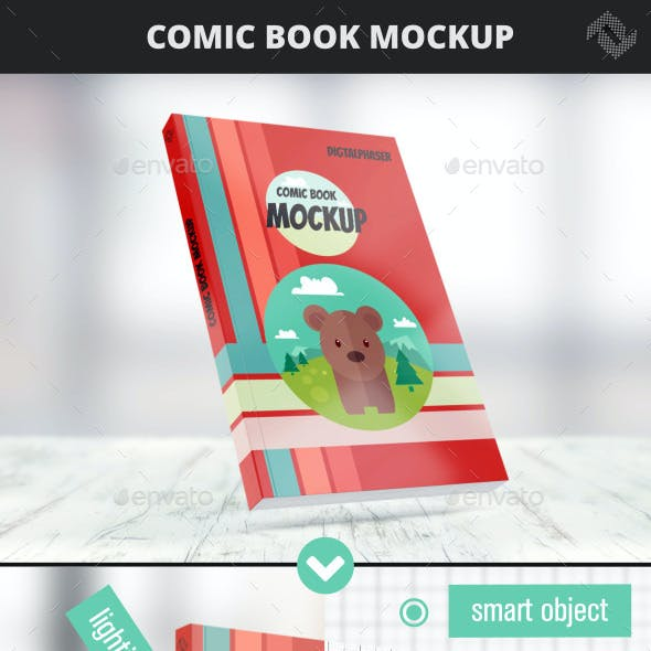Comic Soft Cover Book Mockup