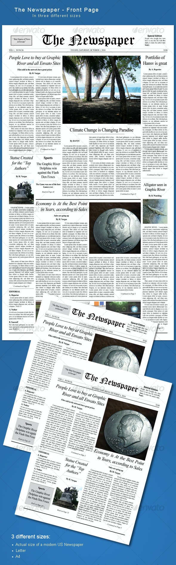 The Newspaper - frontpage - Miscellaneous Print Templates
