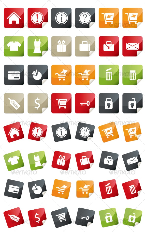 Internet and Online Shopping Icon Set. Tag and Lab - Web Icons