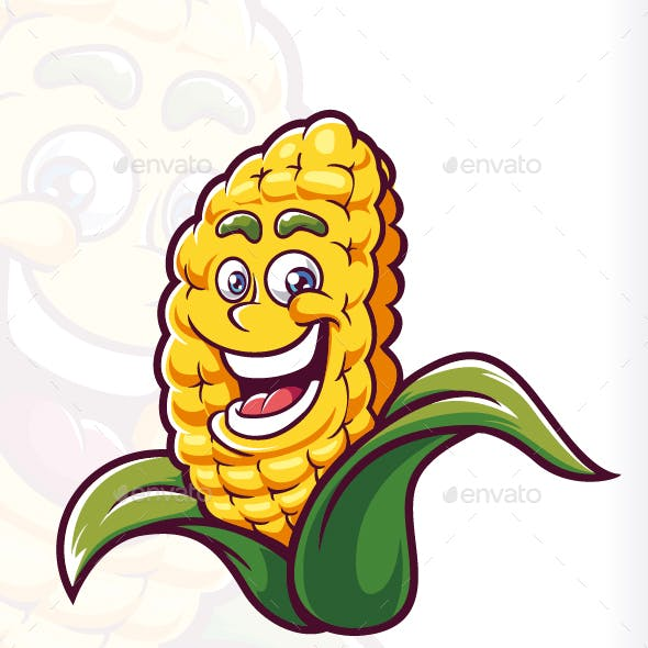 Smile Corn Mascot Cartoon Vector