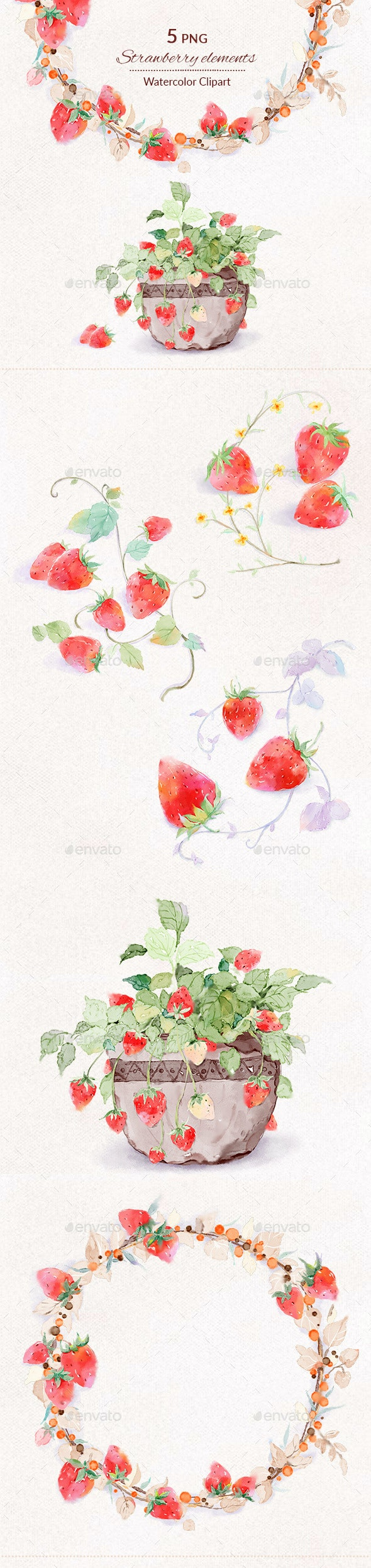 Strawberry Watercolor Digital Illustration Clipart PNG - Objects Illustrations