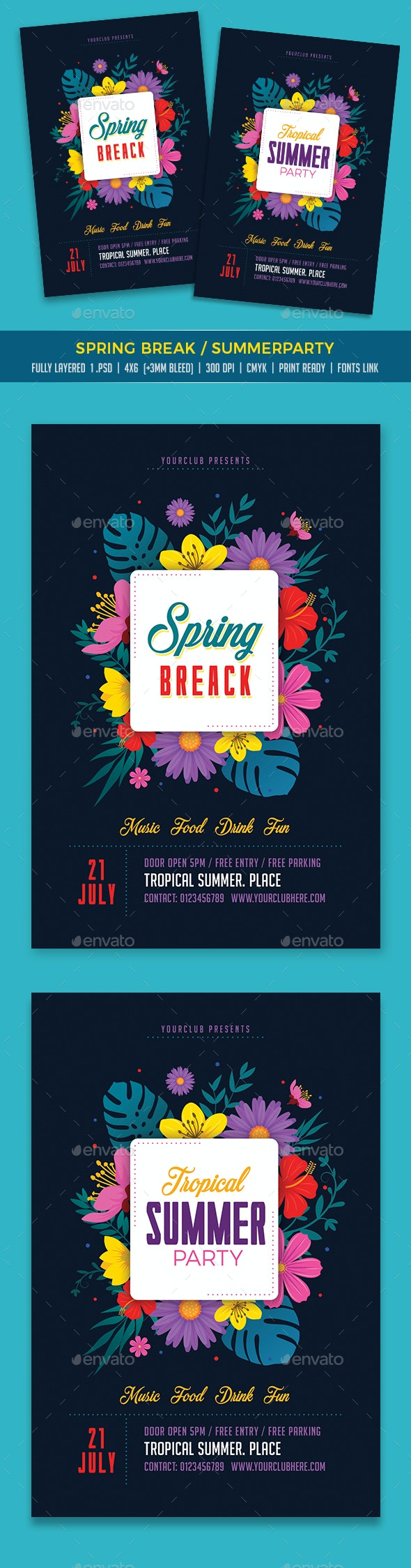 Spring Break / Summer Party - Events Flyers