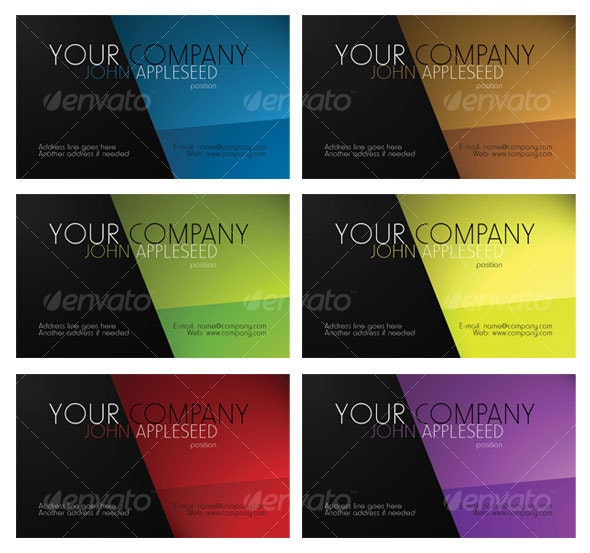 Business Card 6 Color Variety - Corporate Business Cards
