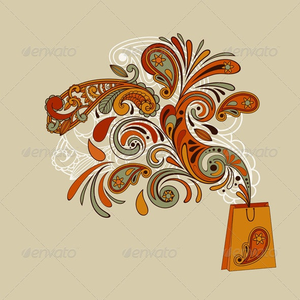 Shopping Bag with Floral Swirl - Flourishes / Swirls Decorative