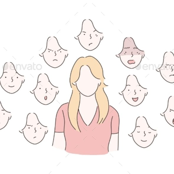 Set of Woman Emotions Concept