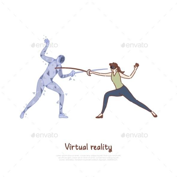 Swordplay Simulation Woman in AR Headset Fencer