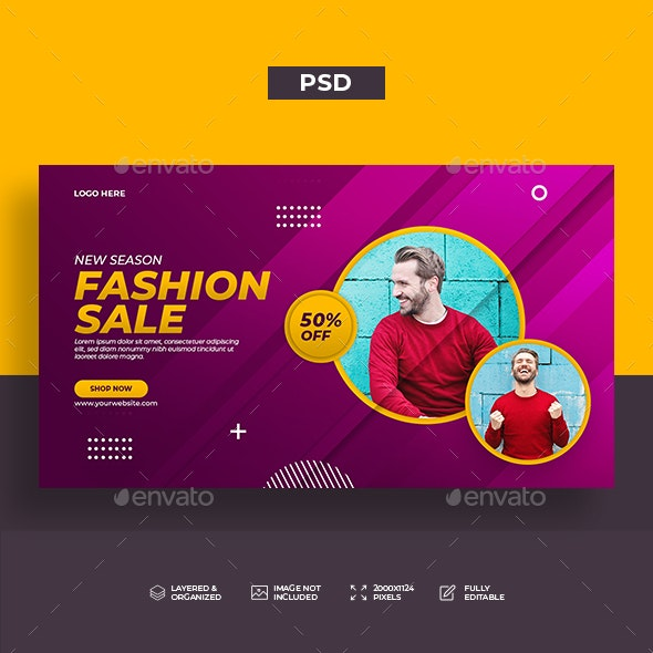 Fashion Sale Web Banner Template - Banners & Ads Web Elements