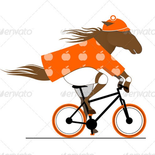 A Dappled Horse Riding a Bicycle. Cycle Caricature