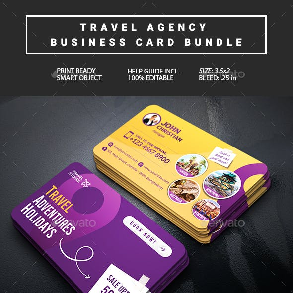 Travel Agency Business Card Bundle 2 in 1