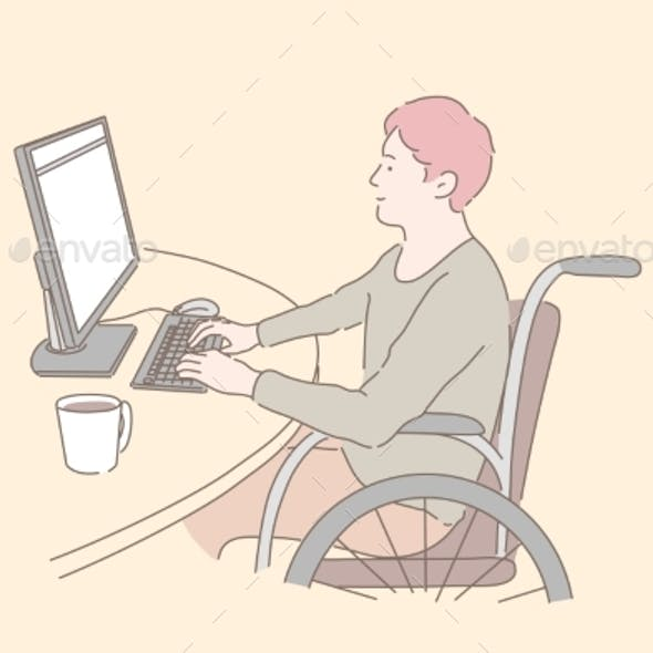 Disabled Individual at Work Concept