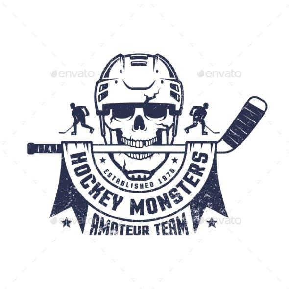 Hockey Skull Mascot with Stick and Ribbon