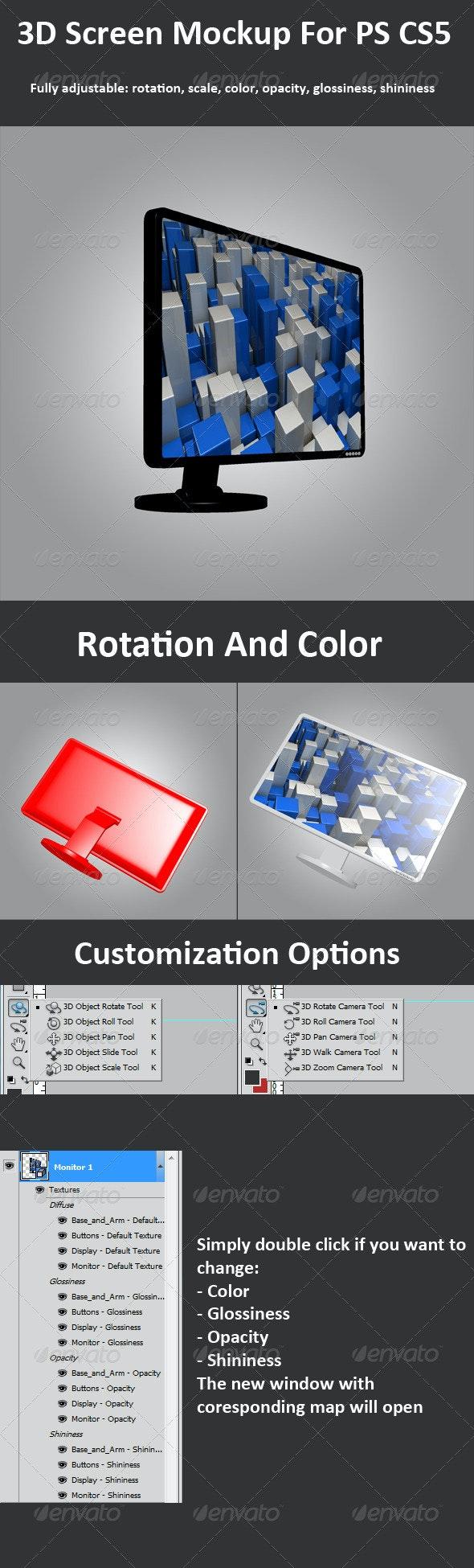 3D Screen-Monitor Mockup For PS CS5, 3D Options - Monitors Displays