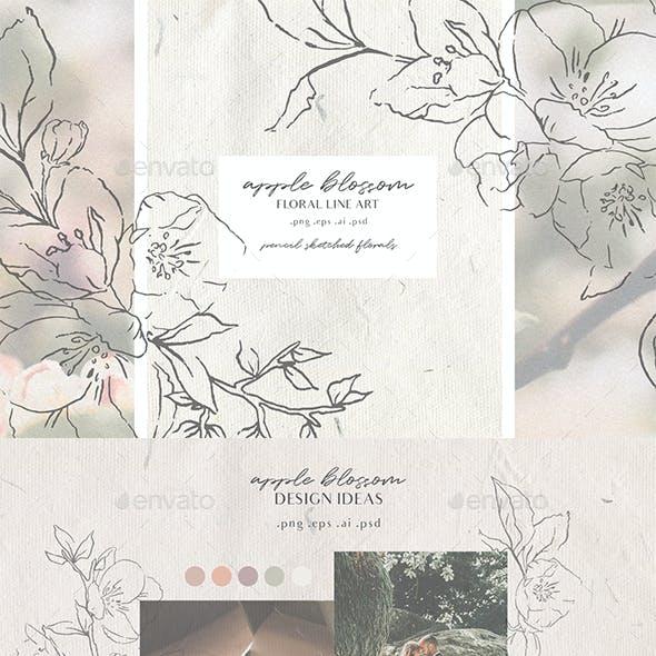 Apple Blossom - Modern Floral Line Art Set