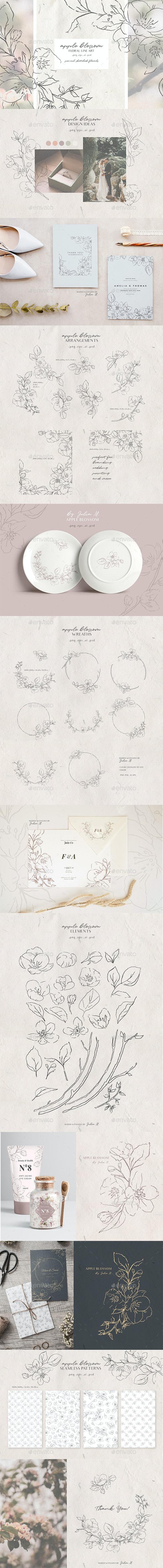 Apple Blossom - Modern Floral Line Art Set - Graphics
