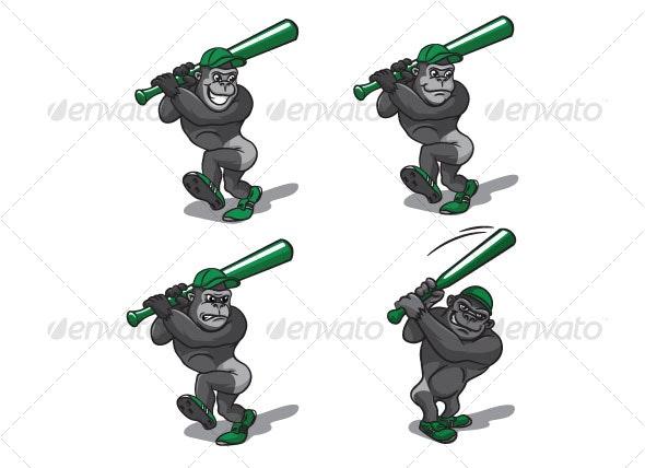 gorillas  with baseball bat - Animals Characters