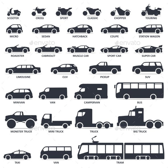 Car Motorcycle and Public Transport Type Icons