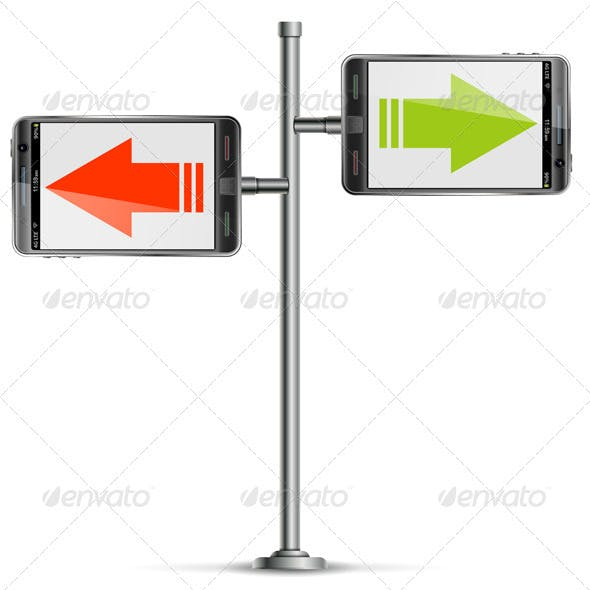 Pole with Smartphone and Arrows