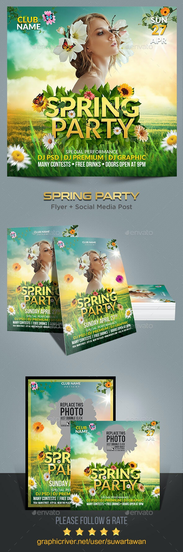 Spring Party Flyer Template - Print Templates