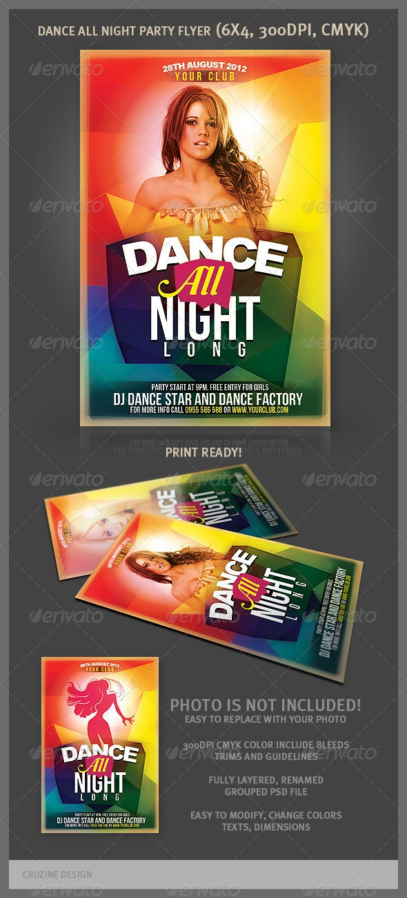 Dance All Night Long Party Flyer - Clubs & Parties Events