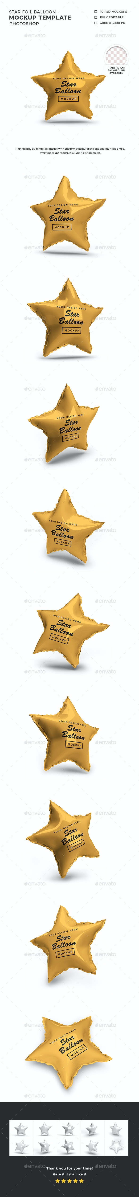 Star Foil Balloon 3D Mockup Template - Product Mock-Ups Graphics