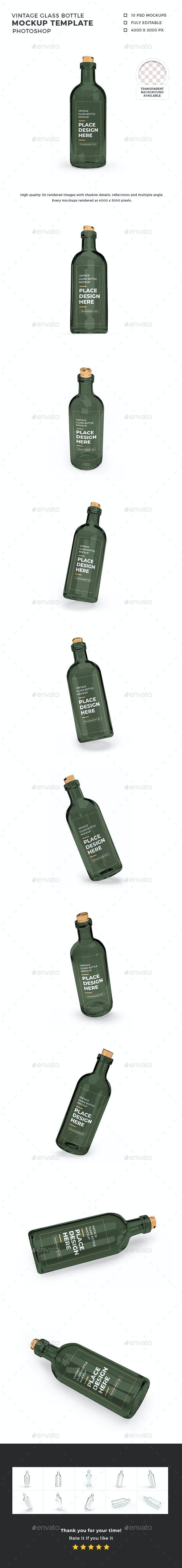 Vintage Glass Bottle 3D Mockup Template - Food and Drink Packaging
