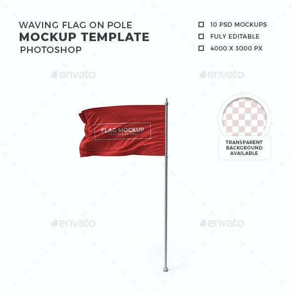 Waving Flag on Pole Mockup Template Set