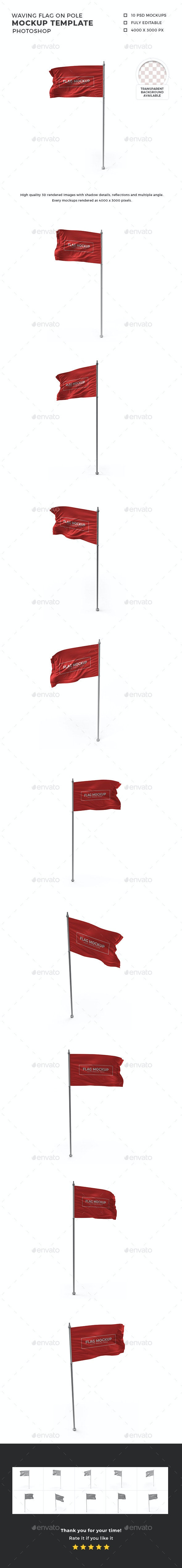 Waving Flag on Pole Mockup Template Set - Miscellaneous Product Mock-Ups