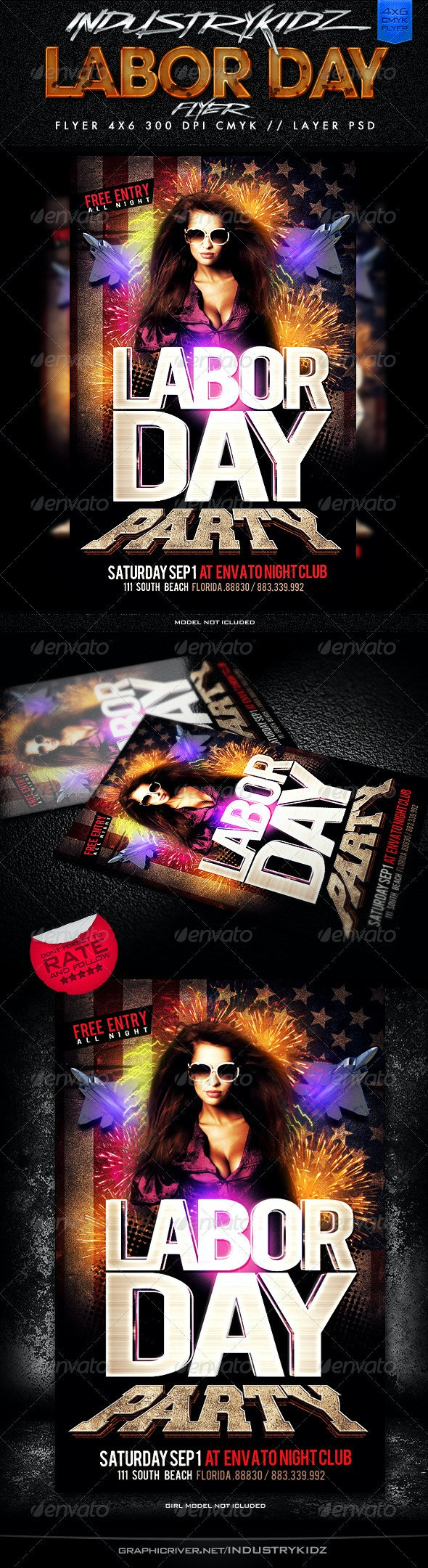 Labor Day Party Flyer Template - Holidays Events