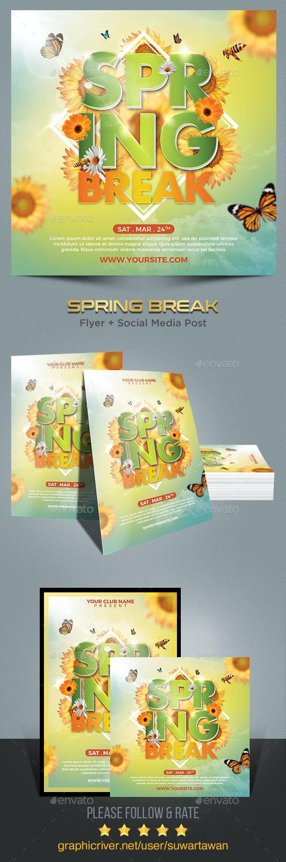 Spring Break Flyer Template - Print Templates
