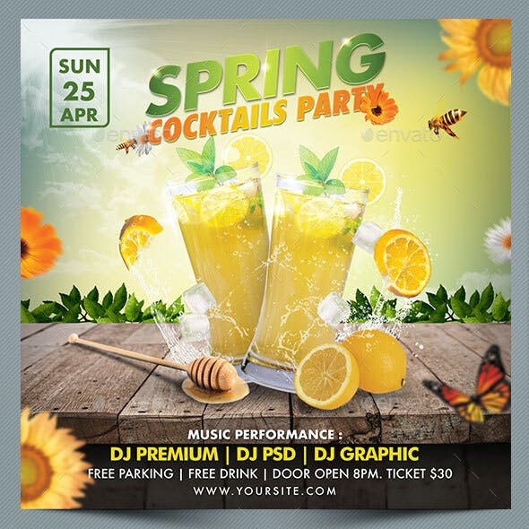 Spring Cocktails party Flyer Template