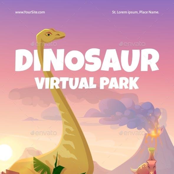 Vector Flyer of Dinosaur Virtual Park