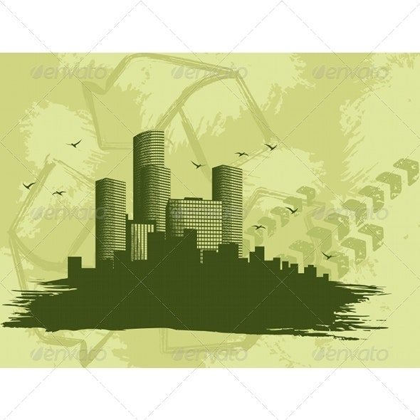 """Grungy """"Green City"""" Banner - Backgrounds Decorative"""