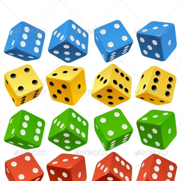 Game dice set. Vector red, yellow, green and blue