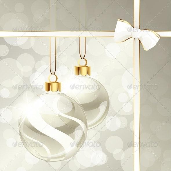 Cream-Colored Banner With Christmas Ornaments - Christmas Seasons/Holidays
