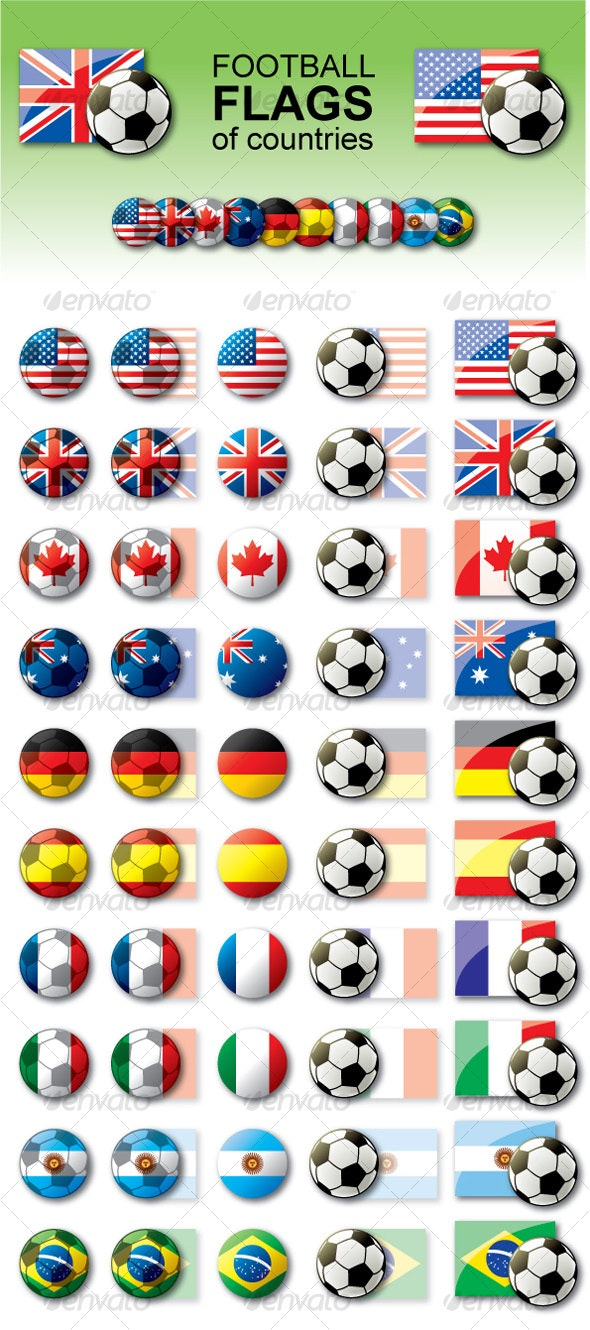 Football flags - Objects Vectors