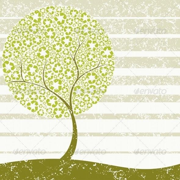 Grungy Recycling-Tree Concept - Conceptual Vectors