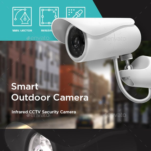 Security camera. Surveillance CCTV. Closed circuit television. Camera on pole watching the area.
