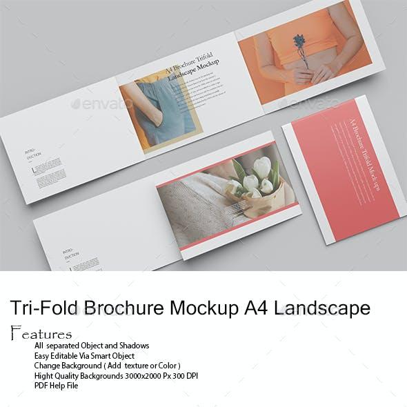 Tri-Fold Brochure Mockup A4 Landscape