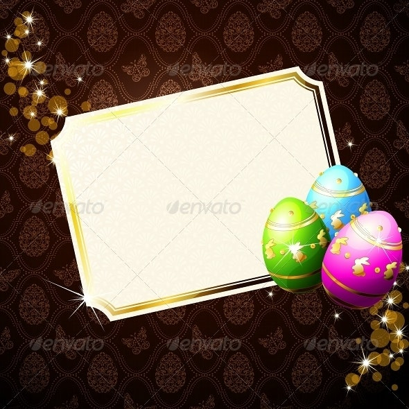 Elegant Card With Gold-Decorated Easter Eggs - Seasons/Holidays Conceptual