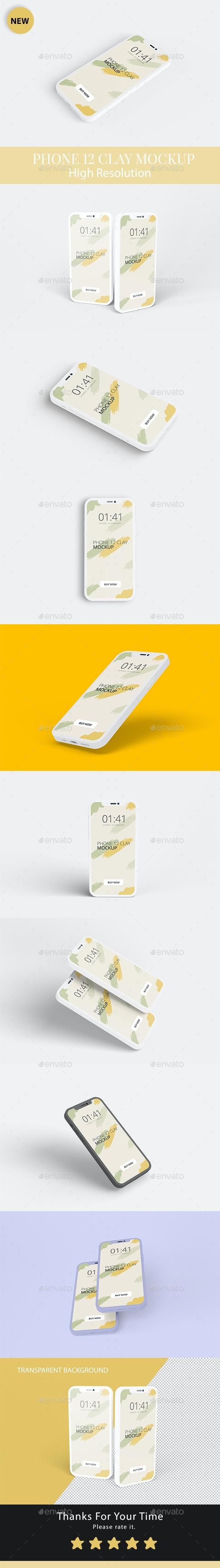 Phone 12 Clay Mockup - Mobile Displays