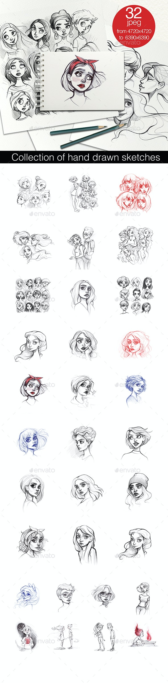 Collection of hand drawn sketches - Characters Illustrations