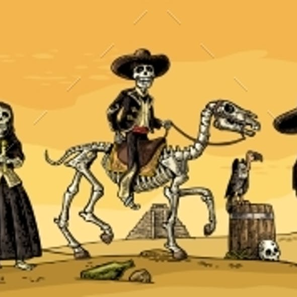 Skeleton Mexican Costumes Dance and Play