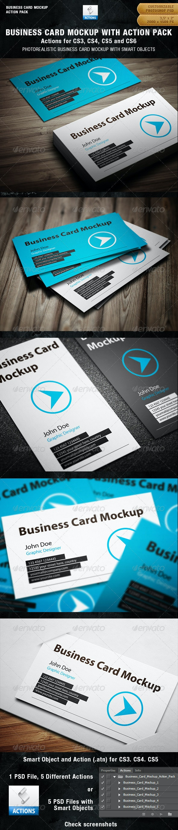 Business Card Mockup With Actions Pack - Business Cards Print