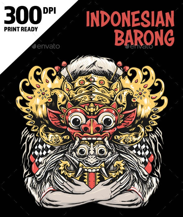 Indonesia Bali Barong Mask - Characters Illustrations