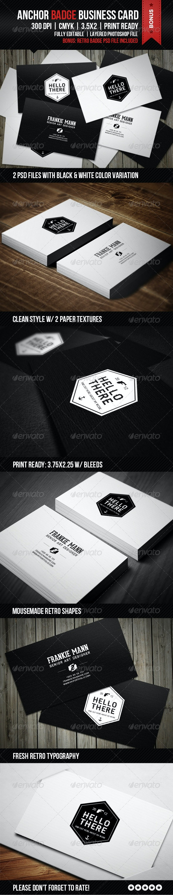 Anchor Badge Business Card - Creative Business Cards