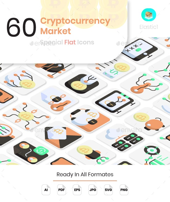 Cryptocurrency Market Flat Icons - Business Icons