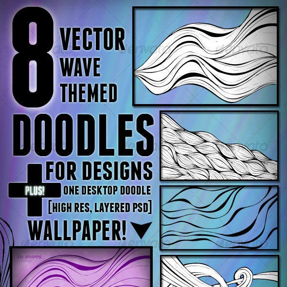 8 Vector Wave Themed Doodles